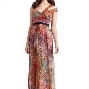 BCBG Inga One-Shoulder Begonia Print Silk Gown